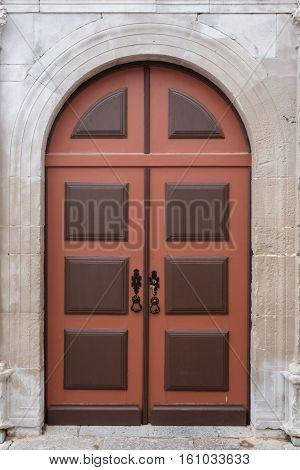 Vintage door tradicional Portuguese goal. Close up.