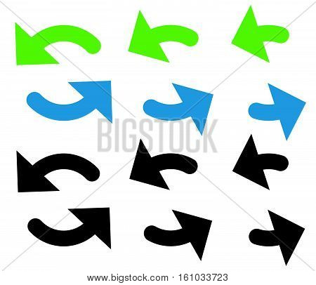 Pair Of Arrows In Circle. Circular Arrows. Recycling, Loop Or Cycle Icon, Symbol In Green And Blue C