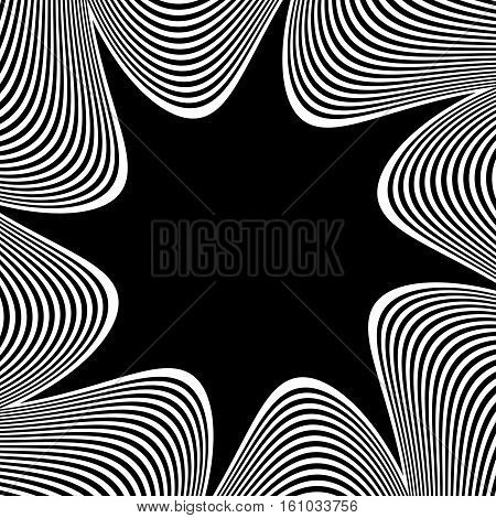 Abstract Element With Radiating Lines. Monochrome Concentric, Radial Pattern. Distortion, Deformatio