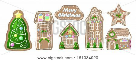 Gingerbread clipart set. Village and city houses fir tree and star. Merry Christmas vector clip art. Ginger bread house with handdrawn decor. Gingerbread stickers. Traditional Christmas dessert icons