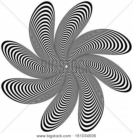 Abstract Geometric Element. Rotating Shape Of Radial Lines With Distortion, Deformation Effect