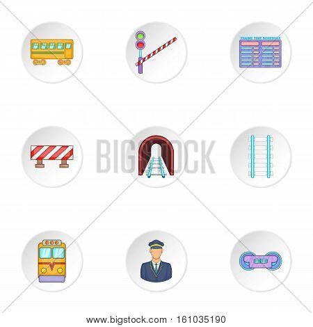 Railway transport icons set. Cartoon illustration of 9 railway transport vector icons for web