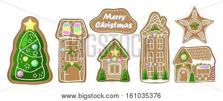 Gingerbread house clipart set. Cozy house fir tree and star cookie. Merry Christmas vector clip art. Ginger bread house with handdrawn decor. Gingerbread stickers. Traditional Christmas dessert icons