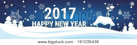 Snowy Village House Happy New Year Merry Christmas Greeting Card Banner Flat Vector Illustration