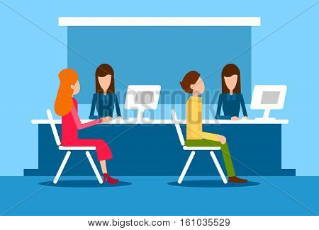 Bank Office Interior Client Man Woman Sit Desk Banker Worker Workplace Flat Vector Illustration