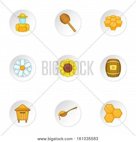 Beekeeping farm icons set. Cartoon illustration of 9 beekeeping farm vector icons for web