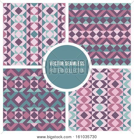 Set of Four Vector Seamless Pink Purple Ethnic Geometric Pattern Collection Tiling