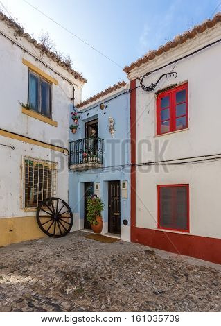 Ancient traditional streets of the town of Sines. Portugal