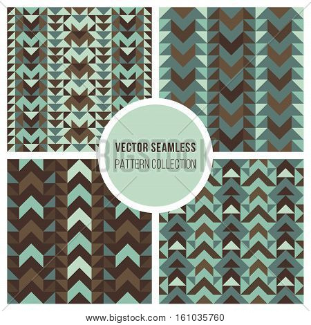 Set of Four Vector Seamless Teal Brown Ethnic Geometric Pattern Collection Tiling