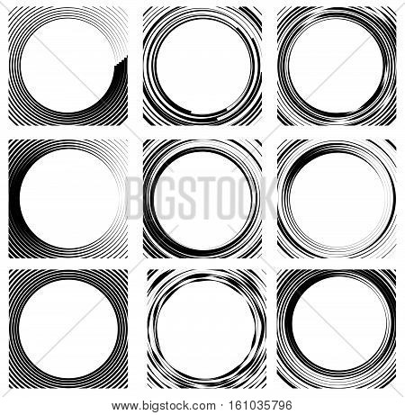 Set Of Random Circle Elements. Concentric Circles, Concentric Rings. 9 Different Version.