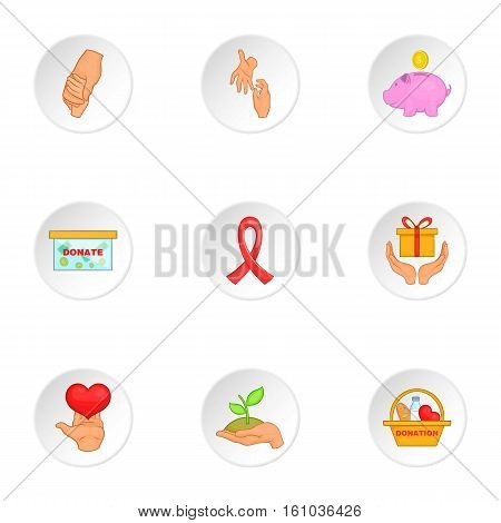 Charity icons set. Cartoon illustration of 9 charity vector icons for web