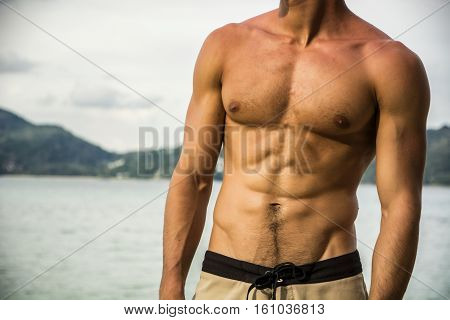 Strong muscular fit man posing in a swimsuit on a tropical beach showing off his powerful physique, anonymous torso view