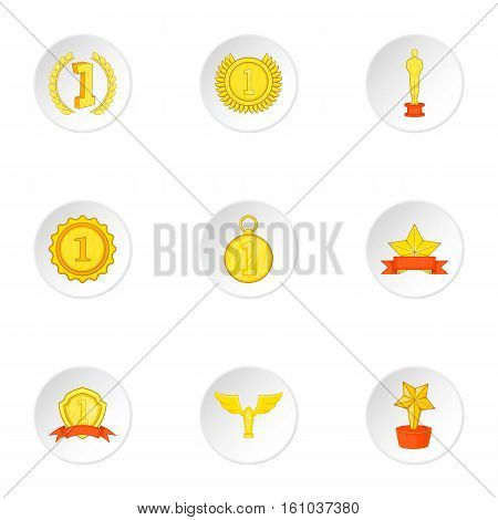 Rewarding icons set. Cartoon illustration of 9 rewarding vector icons for web