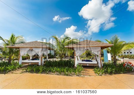 Cayo Guillermo island,Iberostar Playa Pilar resort, Cuba, June 28, 2016, amazing inviting gorgeous view of cozy comfortable relaxing gazebo beds