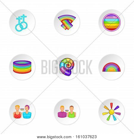 Gender minorities icons set. Cartoon illustration of 9 gender minorities vector icons for web