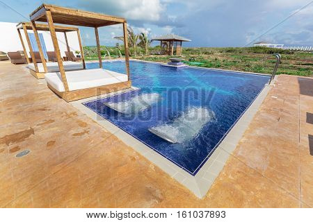 Cayo Guillermo island, Iberostar Playa Pilar hotel, Cuba, June 28, 2016, amazing inviting beautiful view of resort spa and swimming pool with aqua massage beds