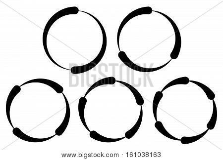Set Of Segmented Circles. 2,3,4,5,6 Segments. Contour Circles.