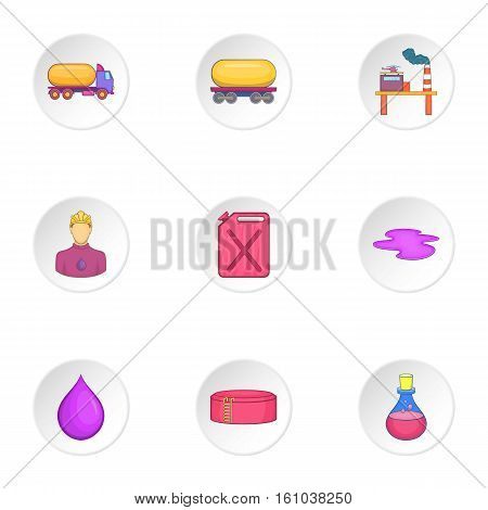 Petroleum icons set. Cartoon illustration of 9 petroleum vector icons for web