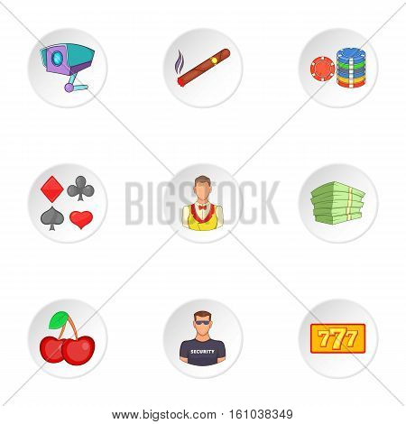 Gambling icons set. Cartoon illustration of 9 gambling vector icons for web