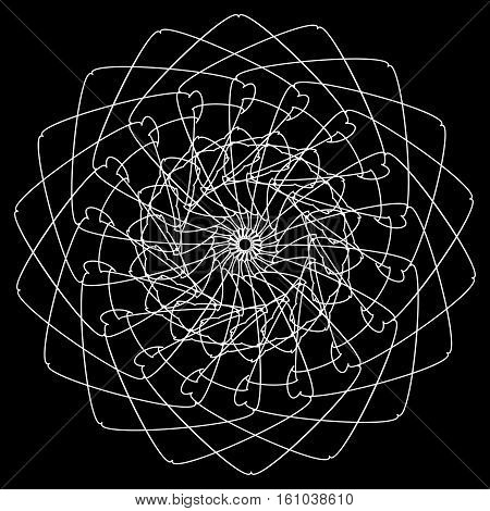 Geometric Circle. Circular Element. Abstract Spiral Motif With Concentric Radial Lines