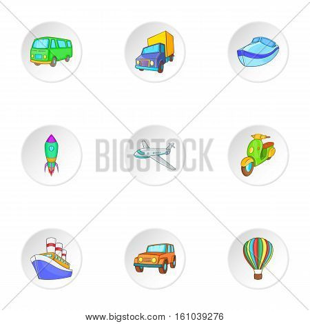 Carriage services icons set. Cartoon illustration of 9 carriage services vector icons for web