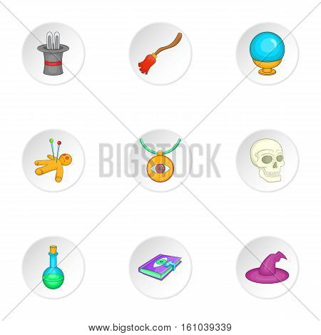 Sorcery icons set. Cartoon illustration of 9 sorcery vector icons for web