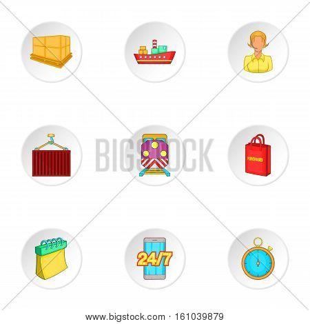 Shipment icons set. Cartoon illustration of 9 shipment vector icons for web