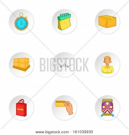 Transfer icons set. Cartoon illustration of 9 transfer vector icons for web