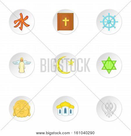 Spirituality icons set. Cartoon illustration of 9 spirituality vector icons for web