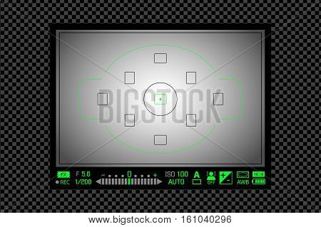 Modern Digital Dslr Camera Focusing Screen With Settings. White Framed Viewfinder Camera Recording T