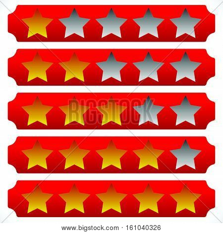 Star Rating Symbols With 6 Star. Quality, Feedback, Experience, Level Concepts.