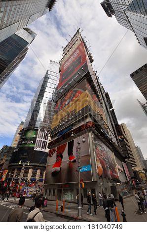 NEW YORK CITY - OCT 3, 2011: Times Square wide angle, Broadway, Manhattan, New York City, USA.