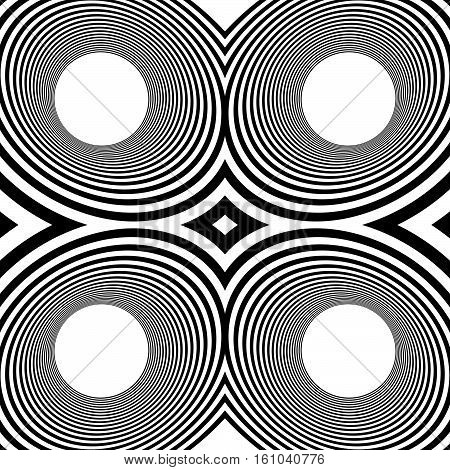 Pattern With Mirrored Ovals, Ellipses, Abstract Repeatable Black And White Background