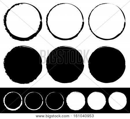 Grungy Circle Element Set - Circles With Smudged, Smeared Paint Effect