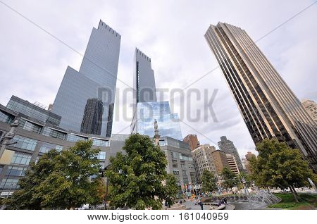 NEW YORK CITY - OCT 3, 2011: Twin Tower of Time Warner Center at left and Trump International Hotel and Tower at right, Columbus Circle, midtown Manhattan, New York City, USA.