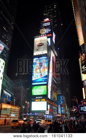 NEW YORK CITY - OCT. 3, 2011: Times Square on Broadway at night wide angle, Manhattan in New York City, USA.