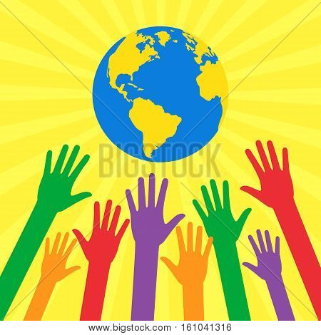 Hands of people are drawn to different colors globe. Ecological and humanitarian concepts in flat style. Vector illustration on the theme: Save our planet.