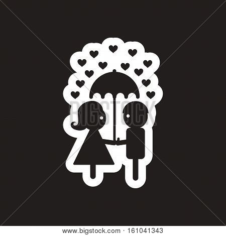 Flat icon in black and white pair of lovers