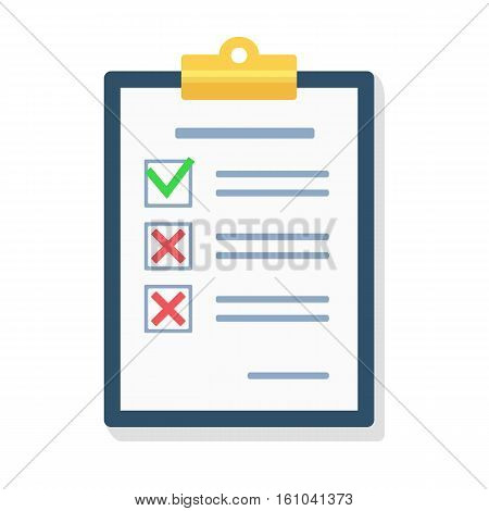 Checklist flat design illustration.  Questionnaire, survey, clipboard, task list. Icon flat style vector illustration. Filling out forms, planning