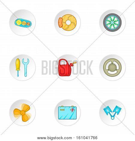 Car repairs icons set. Cartoon illustration of 9 car repairs vector icons for web