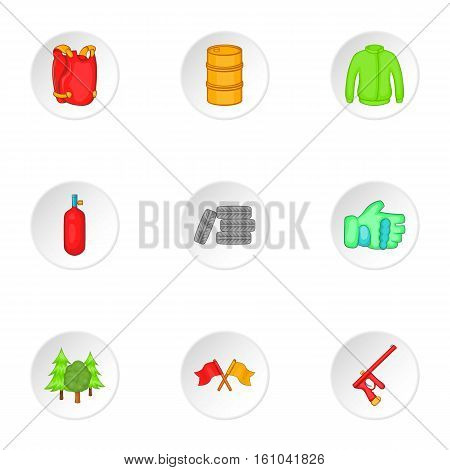 Outfit paintball icons set. Cartoon illustration of 9 outfit paintball vector icons for web