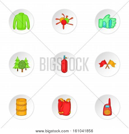 Competition paintball icons set. Cartoon illustration of 9 competition paintball vector icons for web