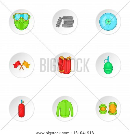 Paintball club icons set. Cartoon illustration of 9 paintball club vector icons for web