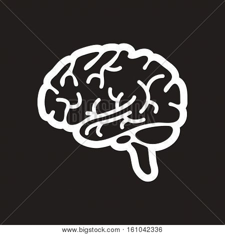 stylish black and white icon human brain