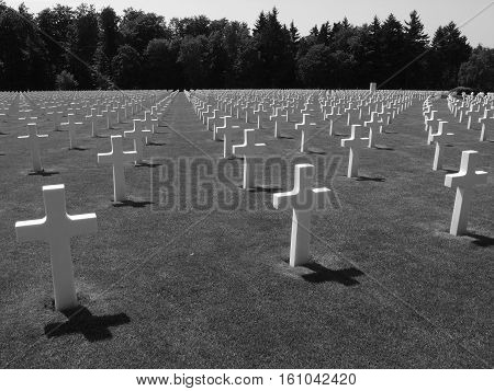 Rows of crosses at the Luxembourg American Cemetery and Memorial in the Luxembourg City suburb of Hamm where 5076 American soldiers are burried who lost their lives in 1944-45.