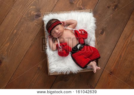 Eleven day old newborn baby boy wearing boxing shorts. He is lying in a wooden crate lined with white faux fur and has boxing gloves draped around his neck. Shot in the studio on a wood background.