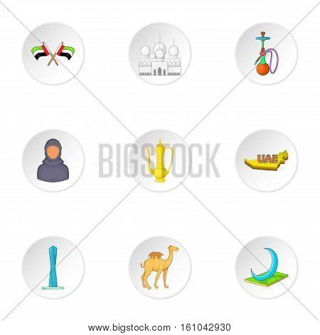 UAE icons set. Cartoon illustration of 9 UAE vector icons for web
