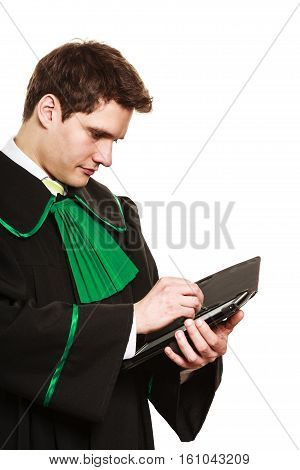 Young Male Lawyer Hold Tablet Computer In Open Case.