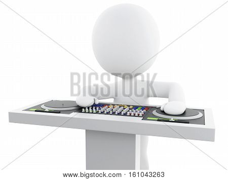 3d Illustration. White people disc jockey with mixer. Isolated white background.