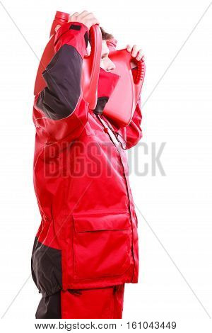Man In Oilskin With Bottle.